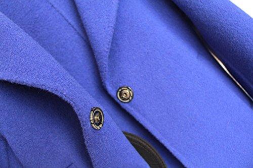 Girls Handmade Coat mid-length Woolen Overcoat Blue by ZYYGL (Image #4)