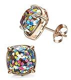 LOYALLOOK Stainless Steel Square Studs Multi-Glitter Stud Earrings for Womens Girls 12mm Rose Gold Tone