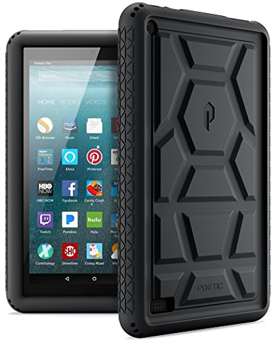 Poetic-TurtleSkin-Fire-7-2017-Rugged-Case-with-Portable-Tablet-Stand-Heavy-Duty-Protection-Silicone-and-Sound-Amplification-feature-Cover-for-All-New-Amazon-Fire-7-7th-Generation2017-Release-Black