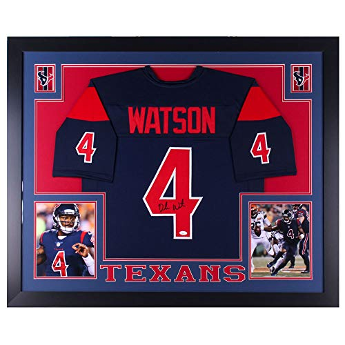 Authentic Deshaun Watson Autographed Signed Custom Framed Jersey 35x43 Houston Texans (JSA Hologram