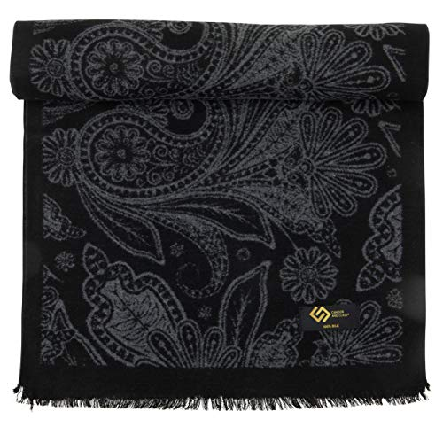 Men's 100% Brushed Silk Scarf for Winter, Soft Luxurious Cashmere Feel Silk Scarves for Men, Gift Box by CANDOR AND CLASS