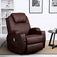 Homedex 360 Degree Swivel Massage Recliner Leather Sofa Chair Ergonomic Lounge Swivel Heated with Control (Brown)
