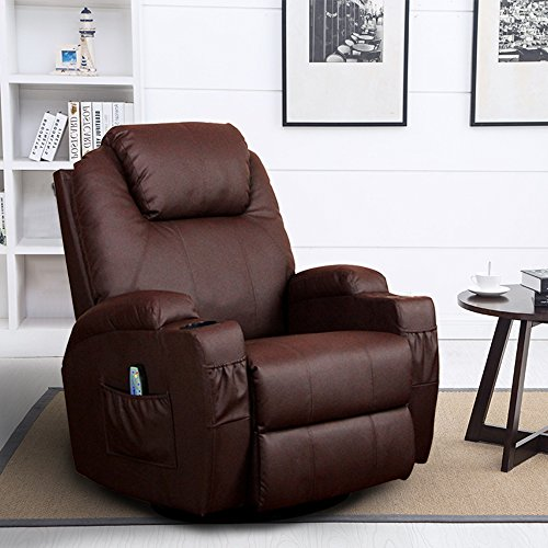 Homedex 360 Degree Swivel Massage Recliner Leather Sofa Chair Ergonomic Lounge Swivel Heated with Control Brown