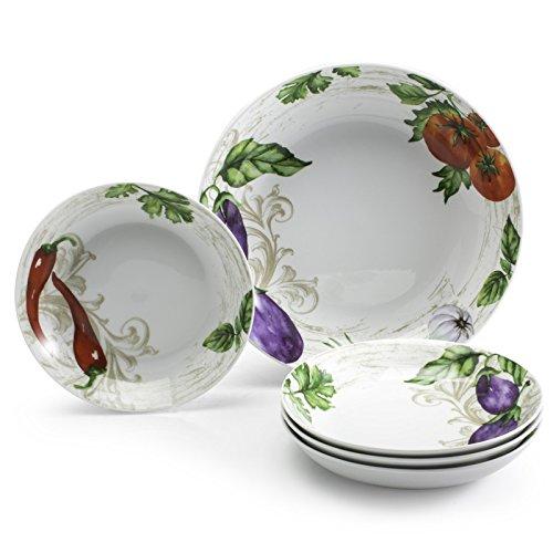 5pc Porcelain Multicolored Pasta Bowl Set