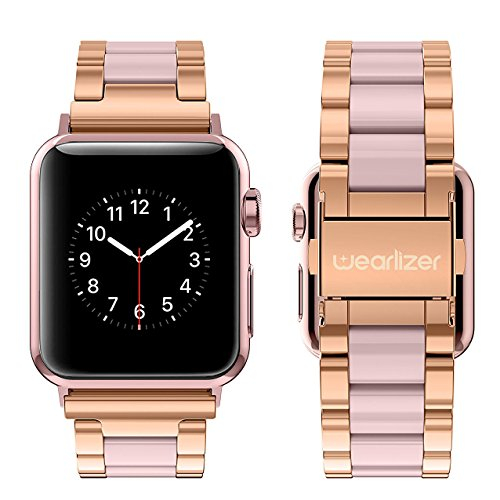 Wearlizer Compatible Apple Watch Band 38mm 40mm Fashion Wristbands Womens iWatch Stainless Steel and Resin Replacement Strap Bracelet Metal Clasp Series 4 3 2 1 Sport Edition-Dark Rose Gold+Pink by Wearlizer (Image #2)