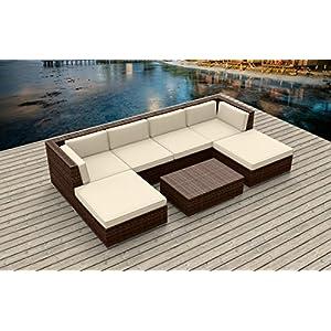 Urban Furnishing.net - Brown Series 7a Modern Outdoor Backyard Wicker Rattan Patio Furniture Sofa Sectional Couch Set