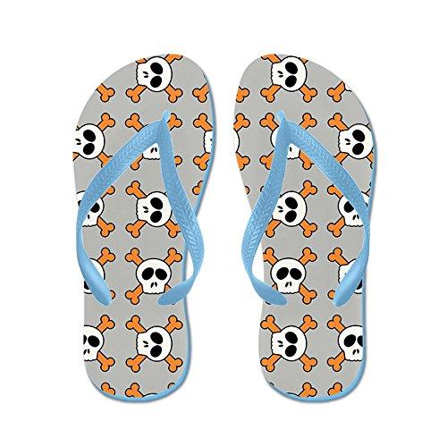 CafePress Skull and Crossbones - Flip Flops, Funny Thong Sandals, Beach Sandals Caribbean Blue