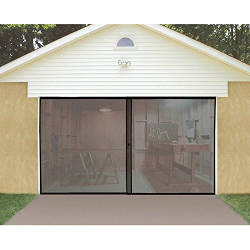 Price comparison product image 2 Car Double Garage Door Screen 7' x 16' Bug Insect Pest Black TV Easy Entry NEW by Jobar