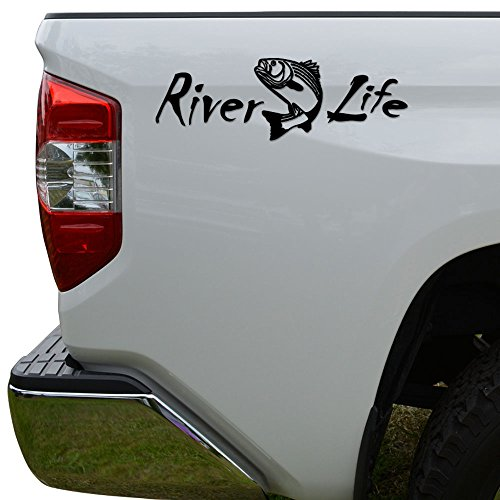 (Rosie Decals River Life Trout Fishing Die Cut Vinyl Decal Sticker For Car Truck Motorcycle Window Bumper Wall Decor Size- [8 inch/20 cm] Wide Color- Matte White)