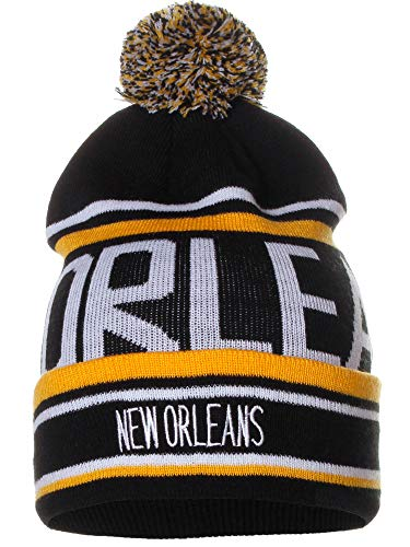 American Cities New Orleans Over Sized City Letters Pom Pom Knit Hat Cap Beanie