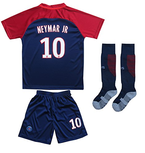 2017/2018 PARIS SAINT GERMAIN PSG #10 NEYMAR JR HOME SOCCER JERSEY & SHORTS YOUTH SIZES (Home (PSG), 8-9 YEARS) (8 Soccer Shirt Jersey)