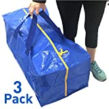 """EasyGoProducts EGP-TOTE-003 Reusable Handles - Heavy Duty Large Grocery Foldable Shopping Bags - Zippered Closure - Same Size as IKEA FRAKTA 28.75"""" x 13, Set of 3, Set of 3"""