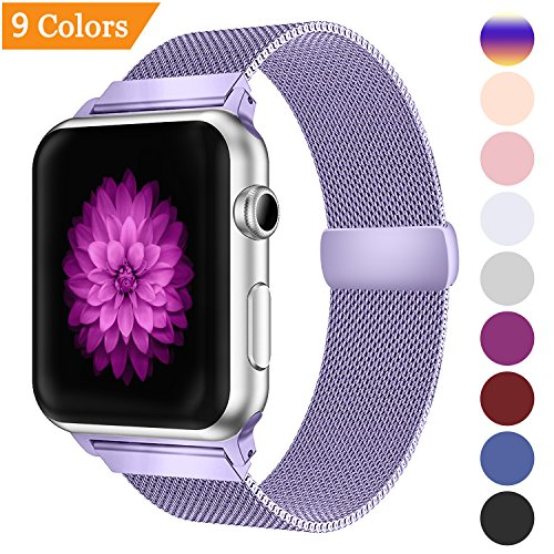 YOUKEX Milanese Loop Replacement Band Compatible Apple Watch 38mm 42mm 40mm 44mm,Stainless Steel Mesh Band Magnetic Closure iWatch Series 4/3/2/1-38mm/40mm Purple