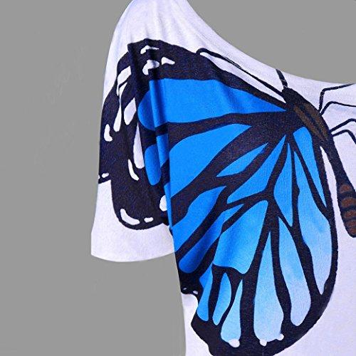 2xl Chemisier Blouse M shirt Taille Mode Slim Été Courtes Stretch Tee Manches Chic Élégant Haut T Tops Bleu Impression Femmes Sexy Cami Adeshop À Grande Papillon Bretelles vwB4wqS