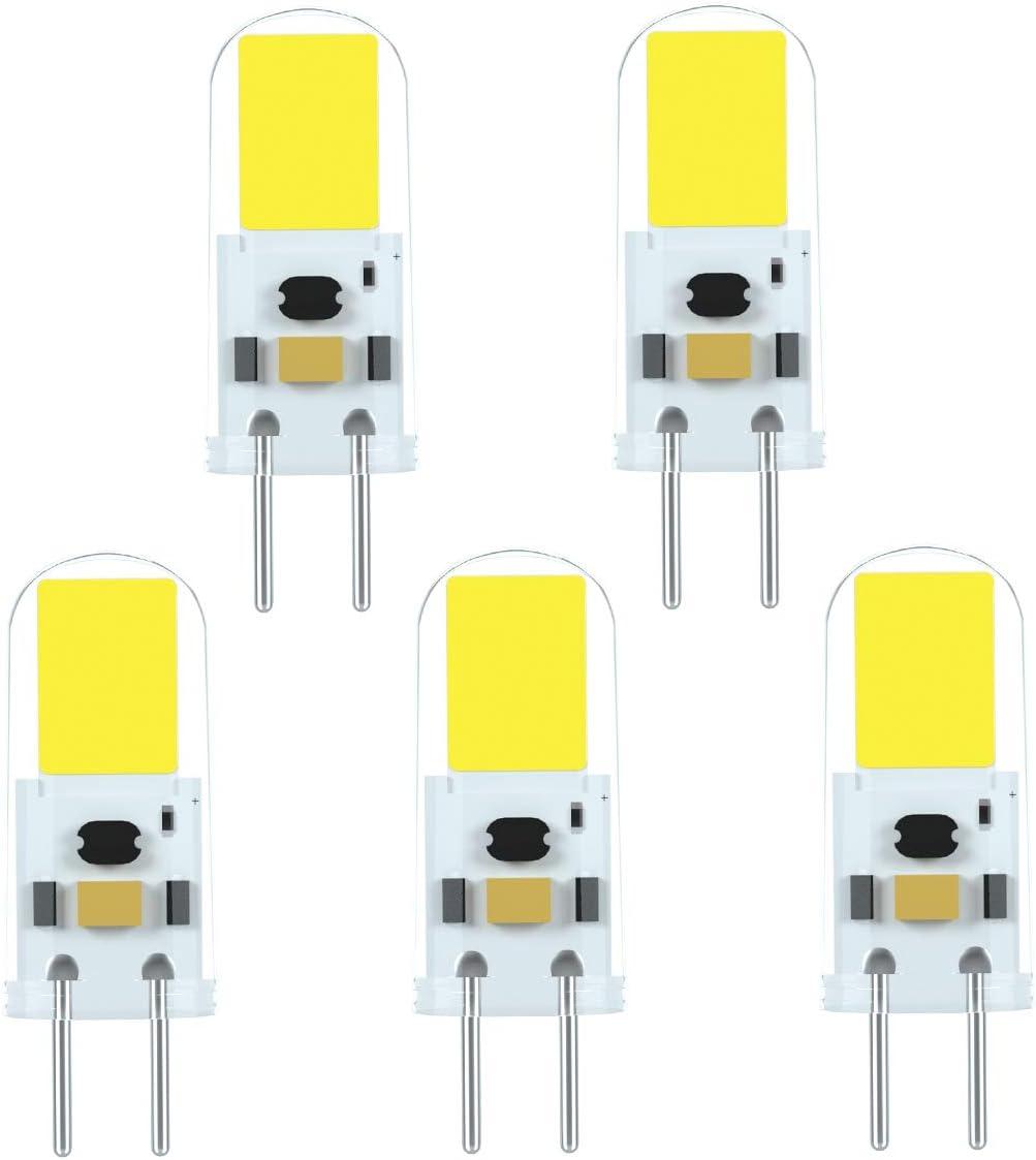 Ymm G6.35 GY6.35 Alto Brillo Bombilla LED 4W Equivalente a Lámpara Halógena de 40W,AC 12V,Blanco Frío 6000K(5 unidades) [Clase de eficiencia energética A+]