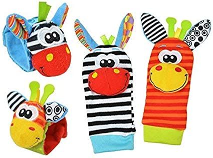 Infant Wrist Rattles and Foot Finder Set aimibaby Baby Wrist Rattle Toys Socks Toddler Early Educational Development Soft Animal Toy for Boys and Girls 4 Pack