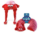 Puzzled Red Lobster Collection - Super Soft Plush Hat and Neck Pillow, Set of 2