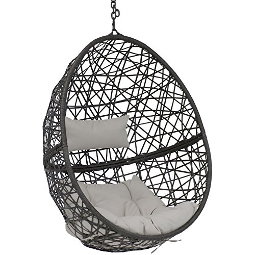 Sunnydaze Caroline Hanging Egg Chair Swing, Resin Wicker Modern Design, Indoor or Outdoor Use, Includes Gray Cushions