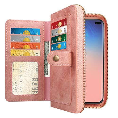 HianDier Case for Galaxy S10 Plus Case Card Holder Case Lady Handbag Purse Case Women Girls Zipper Closure Protective Magnetic Detachable PU Leather Flip Wallet Case Cover for Galaxy S10 Plus, Pink