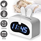 LED Alarm Clock, Sound Control Digital Desk Clock with USB for Bedroom Office Display Date Indoor Temperature, Snooze Dual Alarm with Removable Rabbit Soft Silicon Cover School for Kids Girls (White)