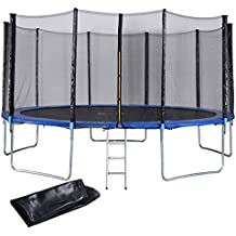 Giantex Trampoline Combo Bounce Jump Safety Enclosure Net W/Spring Pad, Ladder & Rain Cover