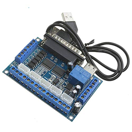 MACH3 Engraving Machine 5 Axis CNC Breakout Board Module with Optical Coupler for Stepper Motor Drive Controller+USB Cable ()