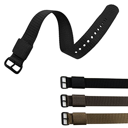 MARATHON Ballistic Nylon Watch Band, Military Grade with Stainless Steel, Non-magnetic Buckle (W: 20MM L: 11