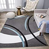 Rug Decor Contemporary Modern Wavy Circles Area Rug, 5′ 3″ by 7′ 3″, Grey For Sale