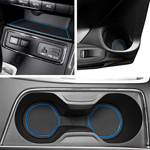 - Custom Fit Cup, Door, and Console Liner Acessories for 2019 2020 Subaru Ascent 24 PC Set (Blue Trim)