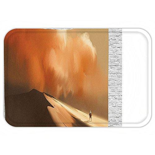 Custom Storm Shadow Costumes (Kisscase Custom Door MatFantasy Art House Decor Shadow Man Walking through Sand Storm in Desert Hiking Wind Hot Image Cream)