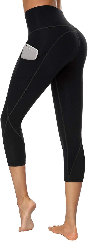 TUNGLUNG High Waist Yoga Pants, Yoga Pants with Pockets Tummy Control Workout Pants 4 Way Stretch Pocket Leggings