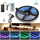 AMAZING POWER StripSun LED Strip Lights SMD 5050 Waterproof 16.4ft 5M 300leds RGB Color Changing Flexible LED Rope Lights with 44Key Remote +12V Power Supply +IR Control Box