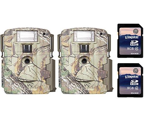 (2) Moultrie Xenon Strobe White Flash D-80 Mini Trail Game Cameras + SD Cards