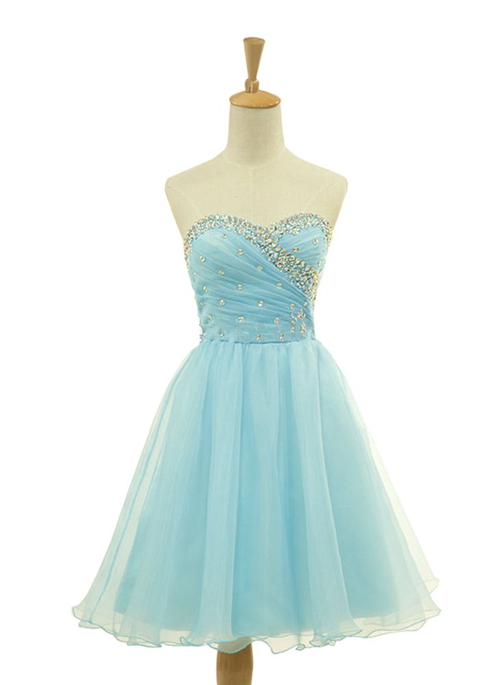 Meledy Women's A-Line Sweetheart Strapless Crystal Ruched Sequins Mini Tulle Summer Junior Homecoming Dress Lighter Blue US16
