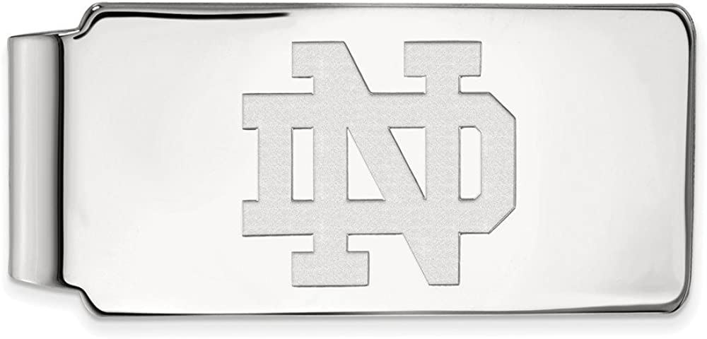 Solid 925 Sterling Silver Official University of Notre Dame Slim Business Credit Card Holder Money Clip - 53mm x 24mm