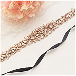 Yanstar Rose Gold Rhinestone Wedding Bridal Belts And Sashes Clear Crystal For Bridal Gowns Sashes 20.9In1.6In-Black
