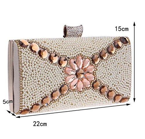 Clutch De Lujo De Las Mujeres De Diamantes Rose Cena Bolsa De Gama Alta De Encargo A Mano Bolso De La Tarde Bolso De La Cartera Paquete De Vestir Gold