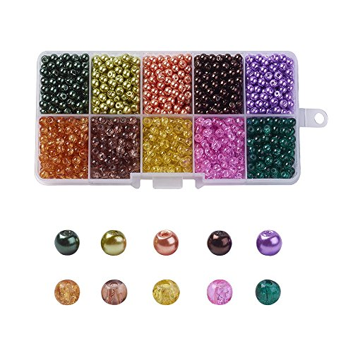 Painted Glass Round Beads - 1