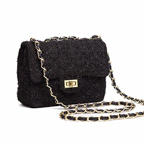 Kette wild Schulter Tasche Messenger Bag Kleine quadratische Paket Mini Bag, schwarz