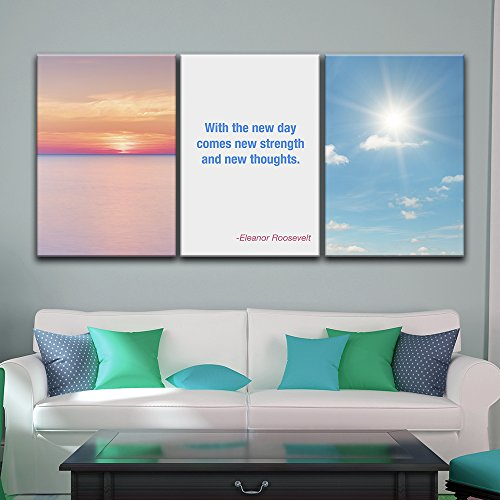 3 Panel Sunrise Landscape with Motivational Quotes Gallery x 3 Panels