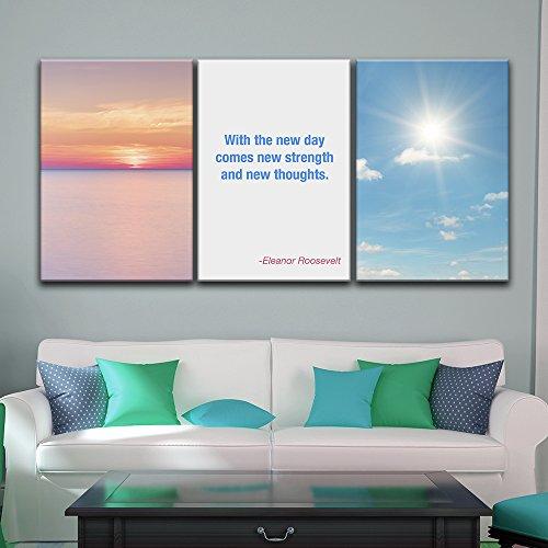 3 Panel Sunrise Landscape with Motivational Quotes x 3 Panels