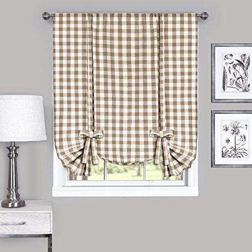 Achim Home Furnishings Buffalo Check Window Curtain Tie Up Shade, 42″ X 63″, Taupe