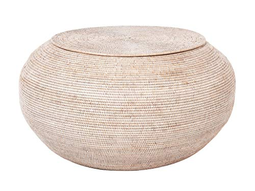 Kouboo 1110121 La Jolla Round Rattan Storage Coffee Table White-Wash