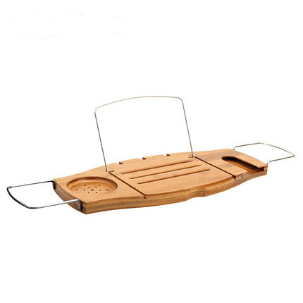 Dreamaccess de salle de bain Appliance pliable Baignoire Plateau coulissant Savon Caddy livre étagère téléphone portable support iPad en bambou Matériau, Bois dense, Style A, Taille M