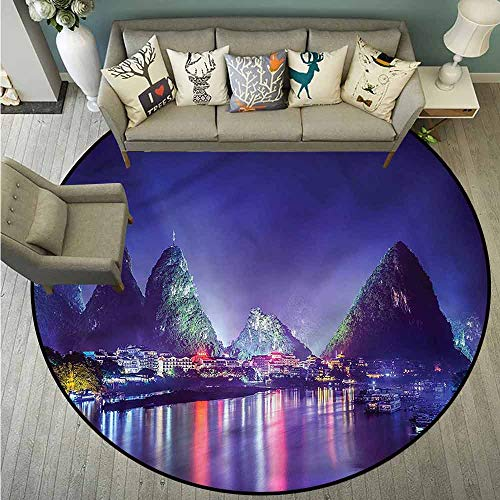 Skid-Resistant Rugs,Landscape,Mountain Trees in China,with No-Slip Backing,3'3