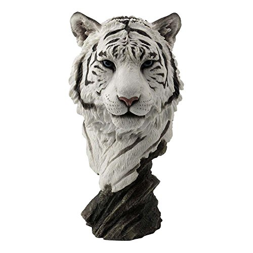 XoticBrands Decorative 11.42 Inch White Tiger Head Bust-Home Accent