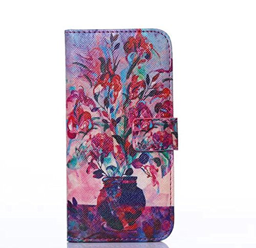 Beautiful PU Leather Shell Oil Painting Series of Potted Plant Flowers Filio Flip Case Apple iPhone 6plus 5.5 inches Cover Multi-purpose Wallet with Multiple ID Card Holders & Stand & Magnetic Snap Button