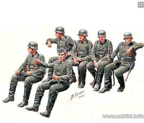 (German Infantry on the march, WW II era 6 figures 1/35 Master Box 35137)