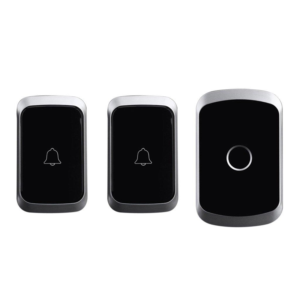 Timbre Inal/ámbrico de Campana 1 Receptor y 2 Pulsadores con Sonido y Flash LED Negro 36 Melod/ías para Elegir con Bater/ía