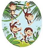 Toilet Tattoos, Toilet Seat Cover Decal,Monkey Business, Size Round